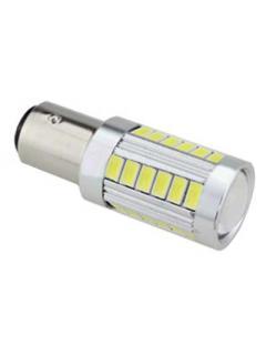 LED BA15s bílá, 12-24V, 33LED/5730SMD s čočkou, 1ks