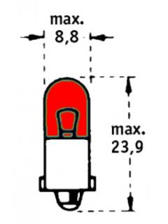 24V T2W BA9s Červená TRIFA