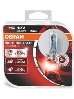 12V H4 60/55W P43t +110% OSRAM Night Breaker Unlimited, sada 2ks