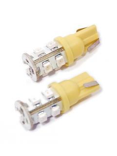 """12V LED """"5W"""" T10  2,1x9,5d  Oranžová , rozptýlené světlo, 9 x LED, sada 2ks"""