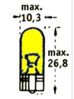 12V W5W 2,1x9,5d Žlutá TRIFA