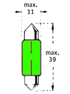 24V C5W SV8,5-8  39mm Zelená TRIFA