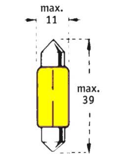 12V C5W SV8,5-8  39mm Žlutá TRIFA