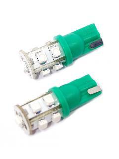 """12V LED """"5W"""" T10  2,1x9,5d  Zelená, rozptýlené světlo, 9 x LED, sada 2ks"""
