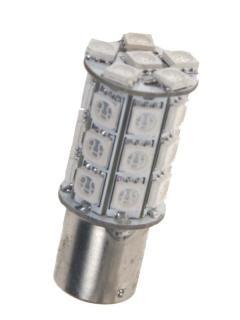 LED BA15s červená, 12V, 27LED/3SMD