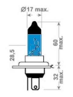 12V H4 60/55W P43 X-Blue TRIFA