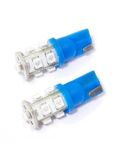 "12V LED ""5W"" T10  2,1x9,5d  Modrá, rozptýlené světlo, 9 x LED, sada 2ks"