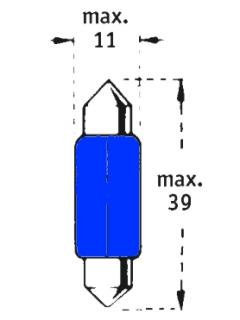 24V C5W SV8,5-8  39mm Tmavě modrá TRIFA