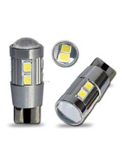LED T10 bílá, 12V, 10LED/5630SMD s čočkou, 1ks