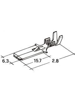 Zástrčka plochá dlouhá 6,3mm 1,0-2,5mm jazýček -kolík-
