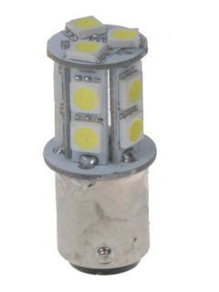 LED BAZ15d (dvouvlákno) bílá, 12V, 13LED/3SMD