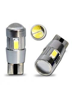 LED T10 bílá, 12V, 6LED/5630SMD s čočkou, 1ks