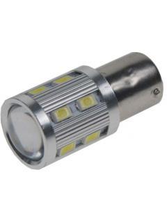 LED BA15s bílá, 12-24V, 12SMD Samsung + 3W Osram