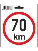 Samolepka  70 km/h, průměr 110 mm