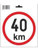 Samolepka  40 km/h, průměr 150 mm