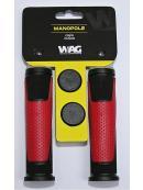 gripy WAG double D černo/červené 125mm
