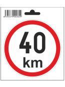 Samolepka  40 km/h, průměr 110 mm