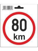Samolepka  80 km/h, průměr 110 mm