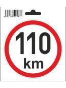 Samolepka 110 km/h, průměr 110 mm