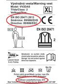 Vesta reflexní ORANŽOVÁ XL dle ČSN EN ISO 20471:2013